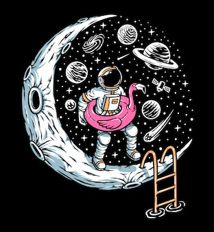 Lets play in the moon pool illustration