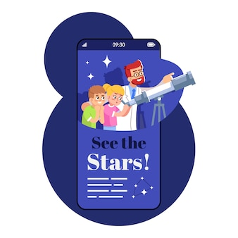 Lets see stars sartphone app screen. mobile phone display with cartoon characters design mockup. kids astronomical studies. learning space science application telephone interface