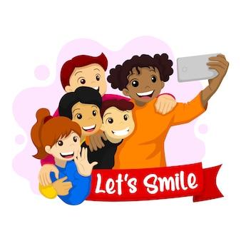 笑いましょう。世界の笑顔の日のイラスト。 selfieを取って幸せな子供