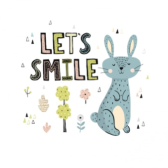 Lets smile print with a cute rabbit and lettering in scandinavian style