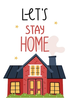 Lets stay at home red house on a beautiful lawn cozy atmosphere light in the window starry summer sky