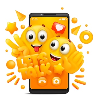 Lets talk. yellow cartoon couple of emoji characters. smartphone application template.