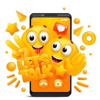 話しましょう。絵文字文字の黄色の漫画のカップル。スマートフォンアプリケーションテンプレート。