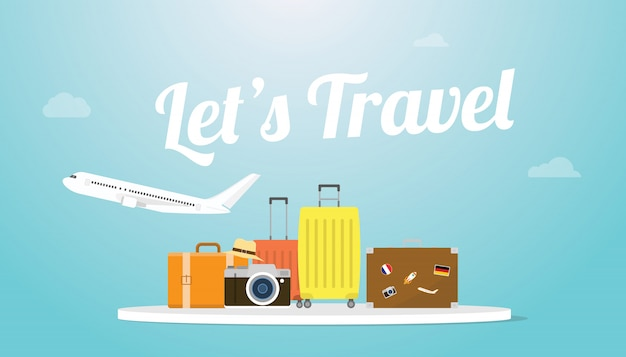 Lets travel or holiday poster concept with plane and luggage bag and big text or words with modern flat style