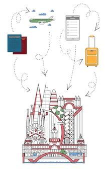 Давайте путешествовать иллюстрации в линейном стиле