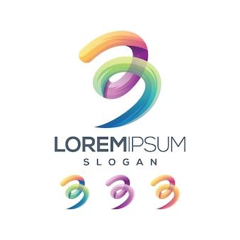 Дизайн логотипа градиента письма 3 градиента
