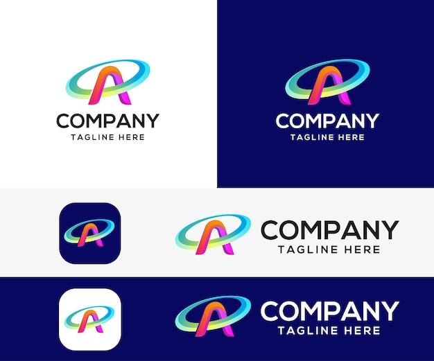Letter a 3d colorful logo design