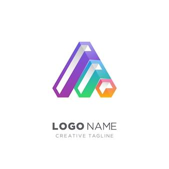 3d形状のロゴの文字
