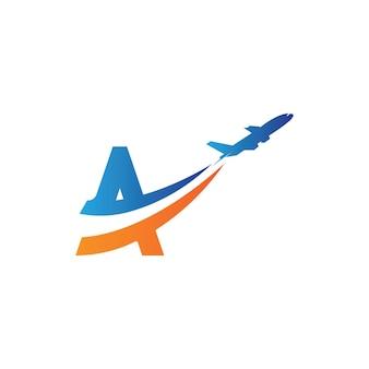 편지 a 항공 여행 로고 디자인 서식 파일-벡터