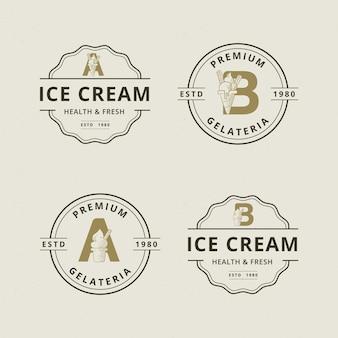 抽象的なアイスクリームのロゴのテンプレートと文字aとb