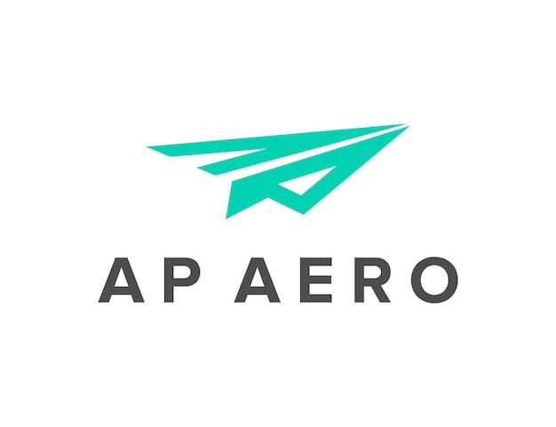 飛行機のシンプルで洗練された創造的な幾何学的なモダンなロゴデザインの文字aと文字p