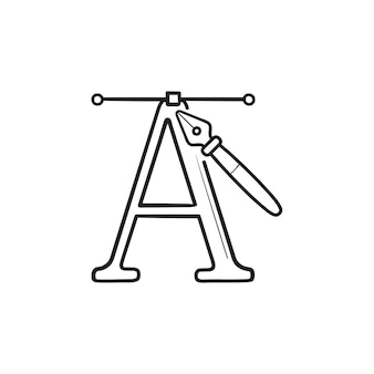 Буква a и ручка инструмент рисованной наброски каракули значок. каллиграфия, шрифт алфавита, концепция дизайна типографии