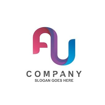 Буква a и u дизайн логотипа