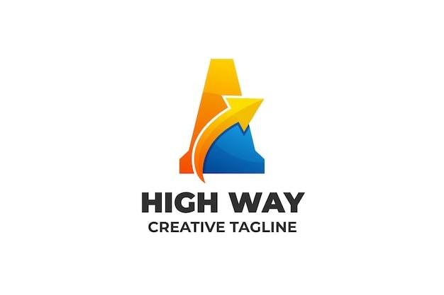 Буква a стрелка градиент бизнес логотип