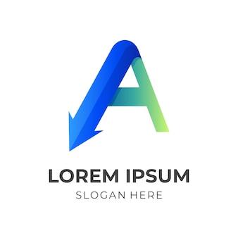 文字aの矢印のロゴ、文字aと矢印、3d青と緑のカラースタイルの組み合わせのロゴ