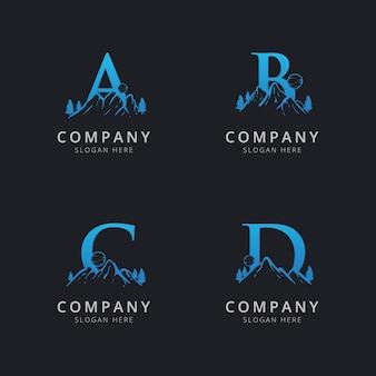 抽象的な山のロゴのテンプレートと文字abcとd