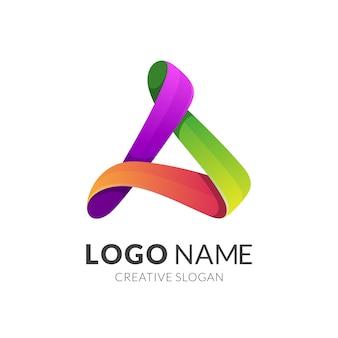 文字aカラフルなロゴデザイン