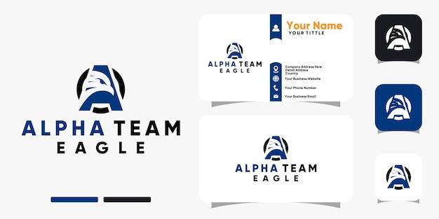 Письмо орла альфа-команды логотип и дизайн визитной карточки векторный шаблон