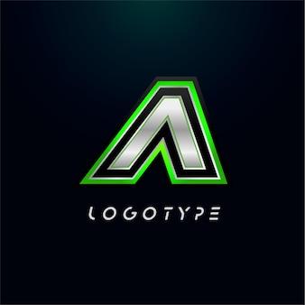 ビデオゲームのロゴとスーパーヒーローのモノグラムスポーツゲームのエンブレムの文字a大胆な未来的な文字