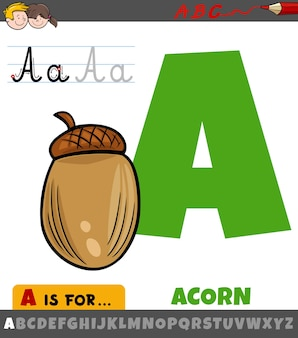 Буква а из алфавита с мультяшным объектом желудь