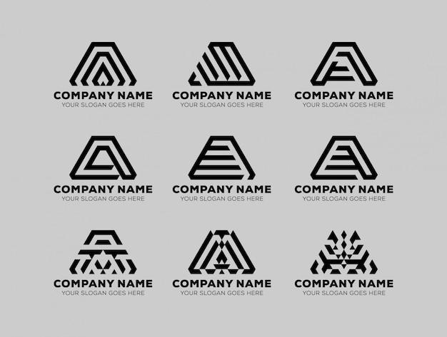 手紙aの幾何学的なセットのロゴ会社