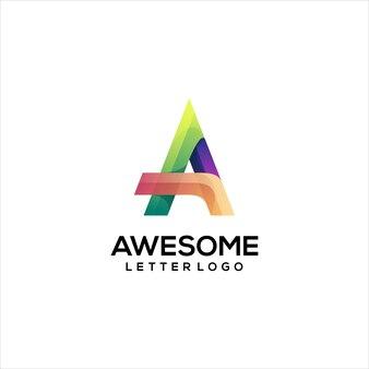 편지 로고 다채로운 그라데이션 개요