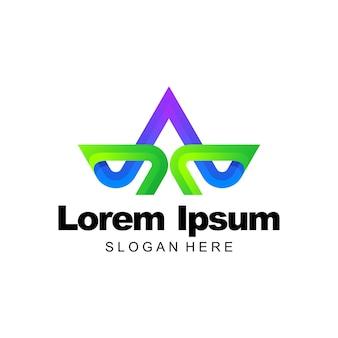 ロゴのカラフルなグラデーションテンプレートデザインの文字