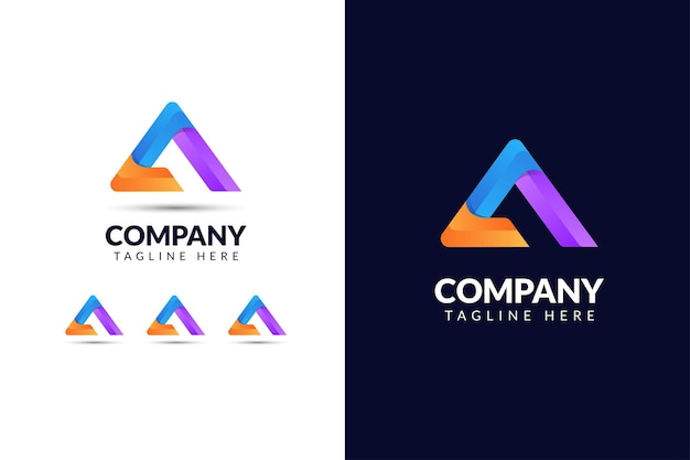Буква a дизайн логотипа элегантный с формой треугольника