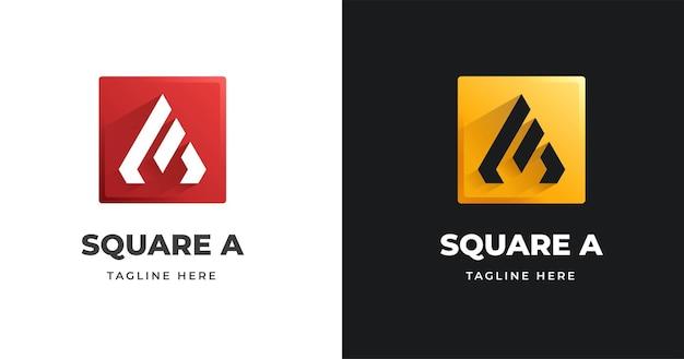 사각형 모양 스타일의 문자 a 로고 디자인 서식 파일