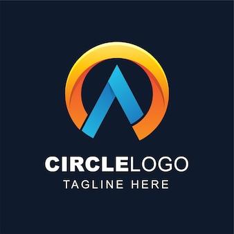 Буква a дизайн логотипа с абстрактной формой круга