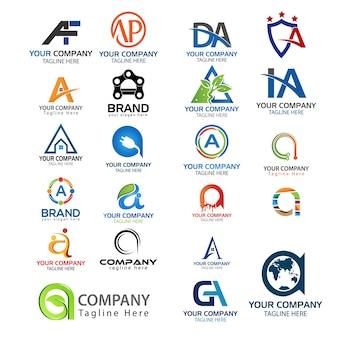 Letter A logo set. Set of creative A letter logo.