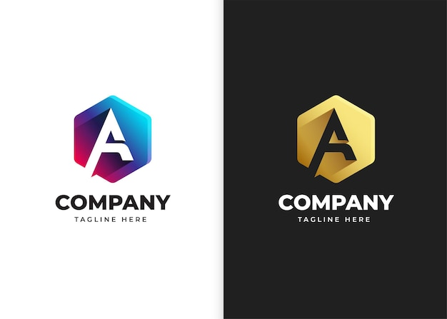 Буква a логотип векторные иллюстрации с дизайном геометрической формы