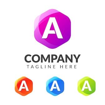 다채로운 기하학 모양의 로고 문자