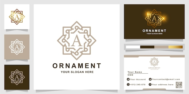 レター名刺デザインの豪華な飾りフレームのロゴテンプレート。