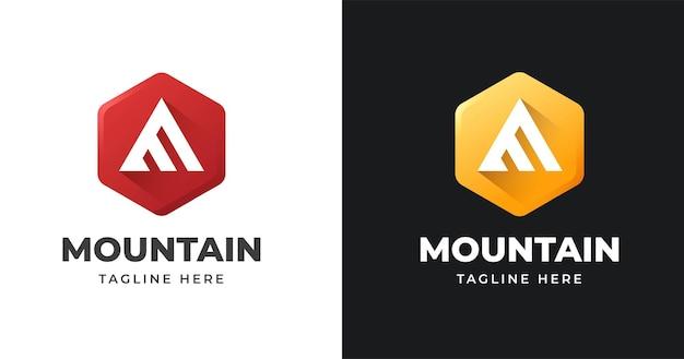 기하학적 모양 스타일의 문자 a 모노그램 로고 디자인 템플릿