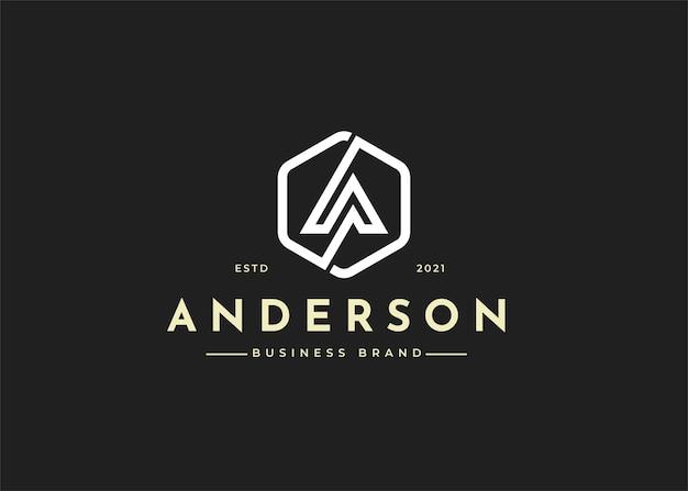 Буква a вензель дизайн логотипа с формой круга