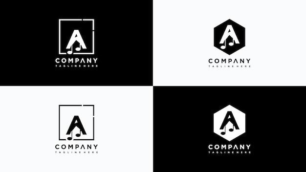 Письмо музыкальный логотип дизайн вектор premium векторы