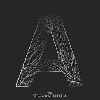 枝またはひびの入ったアルファベットの文字a