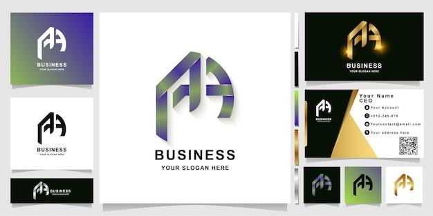 Шаблон логотипа монограммы буквы a или aa с дизайном визитной карточки