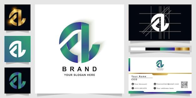 Шаблон логотипа вензеля буква a или al с дизайном визитной карточки