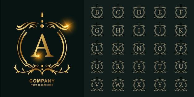 문자 a 또는 럭셔리 장식 꽃 프레임 황금 로고 템플릿 컬렉션 초기 알파벳.