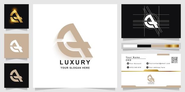 명함 디자인이 포함된 문자 a 또는 ea 모노그램 로고 템플릿