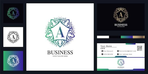 Буква a орнамент цветочная рамка шаблон логотипа с визитной карточкой.