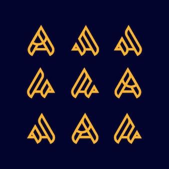 편지 a 세트 로고 디자인