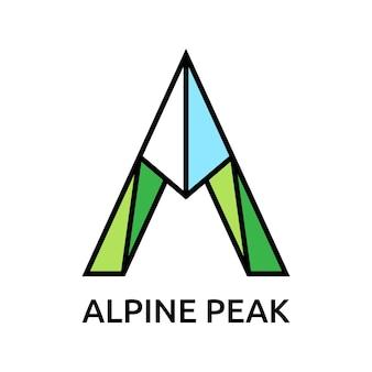 편지 a는 산 로고 템플릿으로 양식화되었습니다. 관광, 하이킹, alpinism, 등산 및 여행 개념. eps 10 벡터 일러스트 레이 션, 투명도 없음