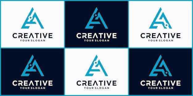 Буква a tech логотип, футуристический шаблон логотипа синего цвета, бизнес и технологический логотип, буква a tech