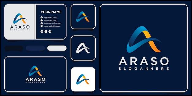 Письмо технологии вдохновения дизайн логотипа. буква a концепция дизайна цифрового логотипа