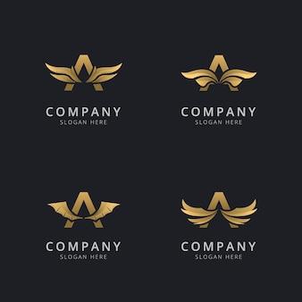 Буква a с роскошным абстрактным шаблоном логотипа крыла