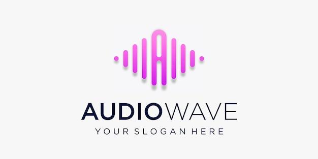 펄스가있는 문자 a. 오디오 웨이브 요소. 로고 템플릿 전자 음악, 이퀄라이저, 상점, dj 음악, 나이트 클럽, 디스코. 오디오 웨이브 로고 개념, 멀티미디어 기술 테마, 추상 모양.