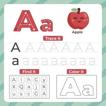 リンゴでワークシートに手紙を書く